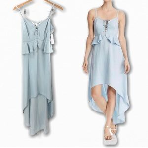 Guess High Low Chambray Tencel Lace Up Dress XS